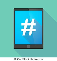 Tablet pc icon with a hash tag