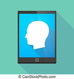 Tablet pc icon with a male head