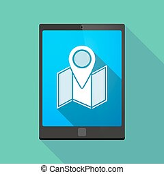 Tablet pc icon with a map