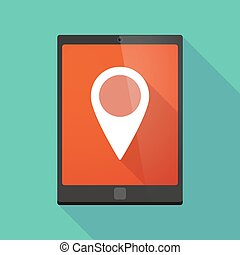 Tablet pc icon with a map mark
