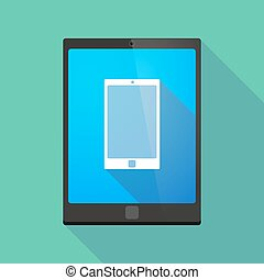 Tablet pc icon with a phone