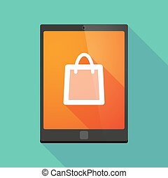 Tablet pc icon with a shopping bag