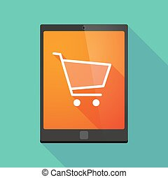 Tablet pc icon with a shopping cart