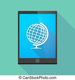 Tablet pc icon with a world globe