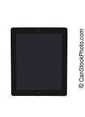 Tablet PC in black on a white background