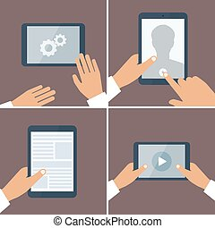 Tablet pc in human hands. Flat style vector illustration