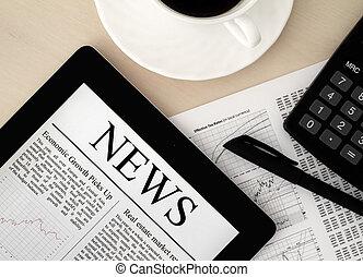 tablet pc, met, nieuws, op bureau