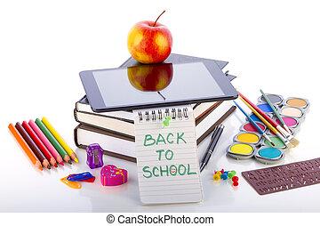 tablet pc, met, school, accessoires