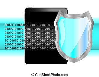 tablet pc, met, shield., bescherming, van, data, op, tablet