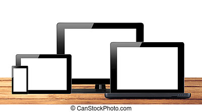 tablet pc, mobiele telefoon, en, computer, op, wooden table