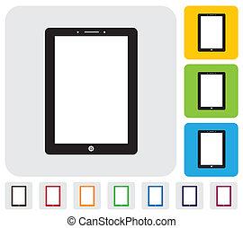 tablet pc, of, handheld computer, icon(symbol), -, eenvoudig, vector, grap