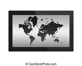 Tablet pc on white background.