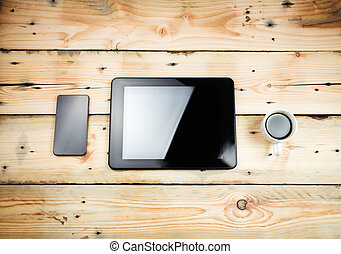 tablet pc, op, wooden table