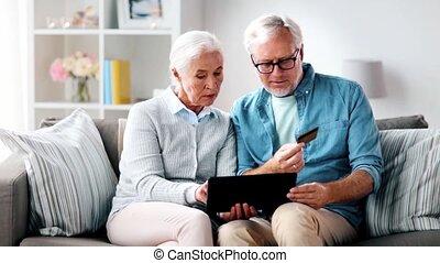 tablet pc, paar, krediet, senior, kaart, vrolijke