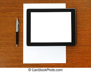 Tablet PC, paper and pen
