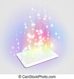 Tablet pc - Image of tablet pc with color lights and...