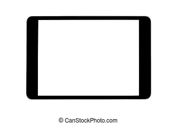 Tablet pc computer with blank screen isolated on white