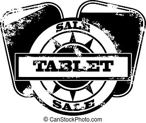 Tablet pc sale stamp isolated on wh