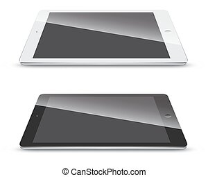 Tablet pc side view isolated on white background.