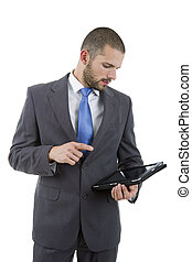 tablet pc - young businessman with a tablet pc, isolated