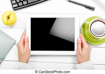 Tablet pc apple cup of coffee on table