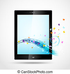 tablet pc stylized with butterflies and light effects,sparkles