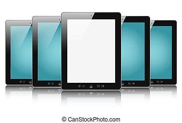 tablet pc - Row of digital touch screen devices with blank...
