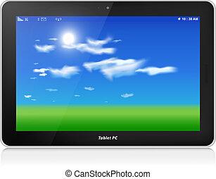Tablet PC. Vector. Horizontal. Blue sky background - Black...