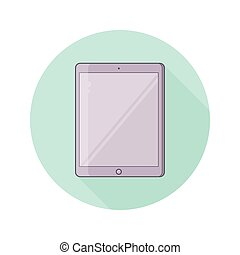 Tablet PC Vector illustration with blank screen. Color round icon in flat style.