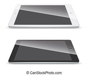 tablet pc, vrijstaand, achtergrond., witte , zijaanzicht
