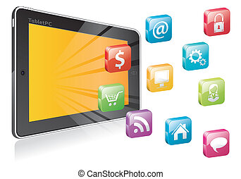 Tablet PC with a blank place for icon