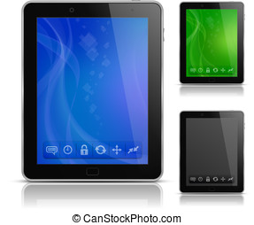 Tablet PC with abstract background and icons. User interface...