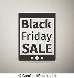 Tablet PC with Black Friday Sale text on screen flat icon over grey background. Vector Illustration