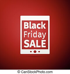 Tablet PC with Black Friday Sale text on screen flat icon over red background. Vector Illustration