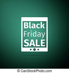 Tablet PC with Black Friday Sale text on screen icon isolated on green background. Flat design. Vector Illustration