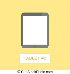 Tablet PC with blank screen. Flat design vector illustration