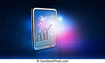 Tablet PC with  business icons