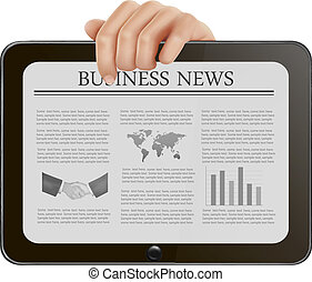 Tablet pc with business news. - Hand holding digital tablet ...