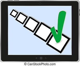 tablet pc with check box on white background