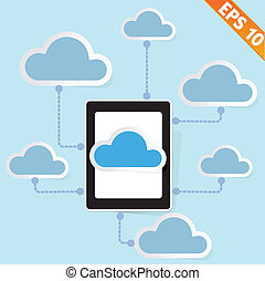 Tablet PC with cloud computing - Vector illustration - EPS10