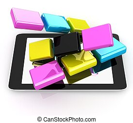 Tablet PC with colorful CMYK application icons isolated on white background