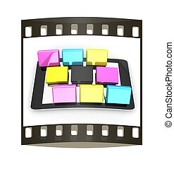 Tablet PC with colorful CMYK application icons isolated on white background. The film strip