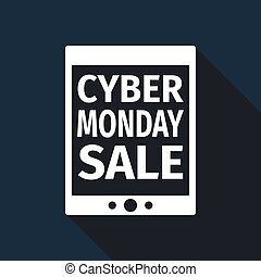 Tablet PC with Cyber Monday Sale text on screen flat icon long shadow. Vector Illustration