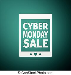 Tablet PC with Cyber Monday Sale text on screen flat icon over green background. Vector Illustration