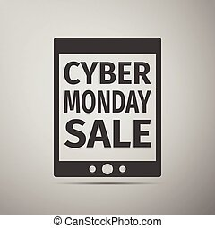 Tablet PC with Cyber Monday Sale text on screen flat icon over grey background. Vector Illustration
