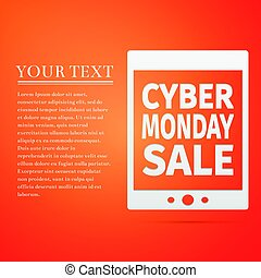 Tablet PC with Cyber Monday Sale text on screen flat icon over orange background. Vector Illustration