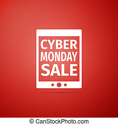 Tablet PC with Cyber Monday Sale text on screen icon isolated on red background. Flat design. Vector Illustration