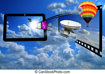 Tablet PC with Film strip and Ballon as concept of streaming...