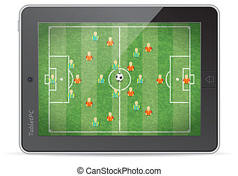 Tablet PC with Football Game - Tablet PC with Football Field...