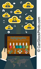Tablet PC with Hands and Vector Icons infographic